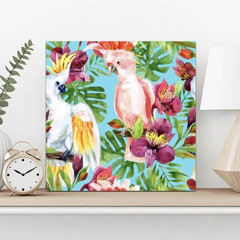 Tropical Birds #2 : A Framed canvas Print 55x55cm