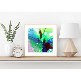 """Burst of Green"" a small framed art print by John Martono"