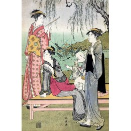 "Yanaga No Niwa, a reproduction ""Ukiyo-e"" print by Katsukawa Shunchō"