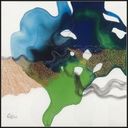 """Green on Blue"" a reproduction of an original John Martono silk painting"