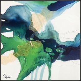 """Green Serenade"" a reproduction of an original John Martono silk painting"