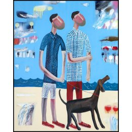 Walkin' The Dog : Kitti Narod : A Canvas Art Print Framed or Stretched
