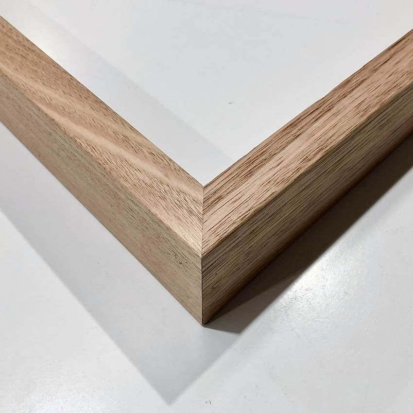 Natural oak box frame for paper print with glass
